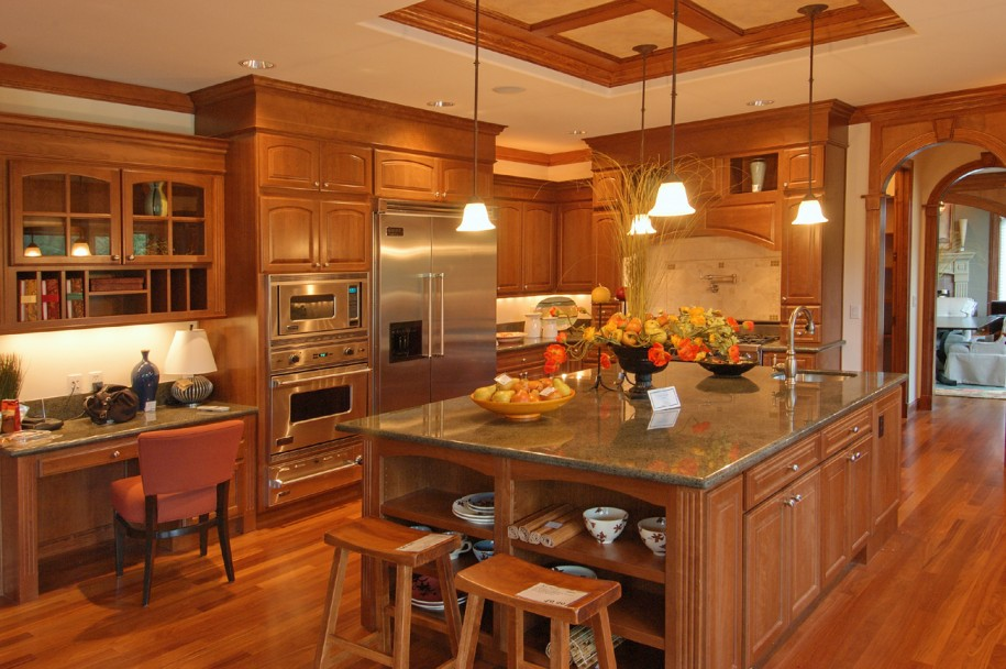 Kitchen: Kitchen Cupboards Ideas Yellow Hanging Lamps Wooden Floor ...