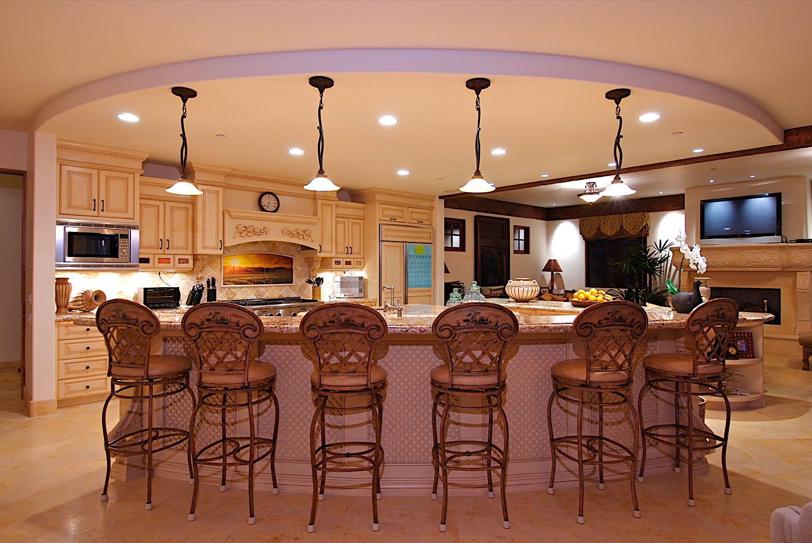 Kitchen Designs with Islands Black Floral Hanging Lamps Brown Steel Chairs Cream Ornamnetd Cabbinets