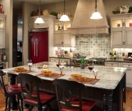 Kitchen Designs with Islands Black Red Kitchen Chairs Grey Chimney Red Fridge Black Cabinets