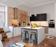 Kitchen Designs with Islands Brick Wall Plaid Wall Black Kitchen Cabinets White Island Grey Chairs