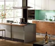 Kitchen Designs with Islands Green Backsplash Grey ISland Wooden Under Cabinets White Upper Cabinets