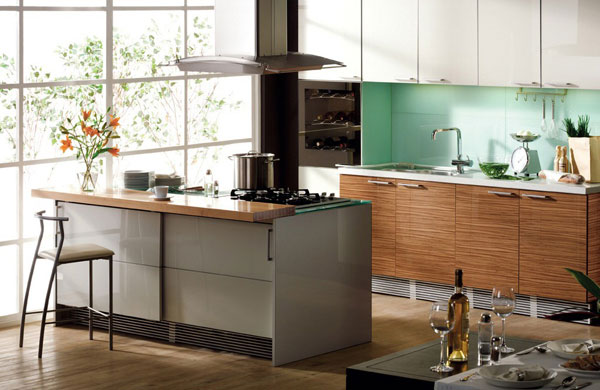 Kitchen Designs with Islands Green Backsplash Grey ISland Wooden Under Cabinets White Upper Cabinets