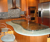 Kitchen Designs with Islands Grey Mosaic Backsplash Wooden Cabinets Grey Wooden Islands Grey Chairs