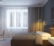 Apartment For A Young Family For Master Bedroom White Curtain