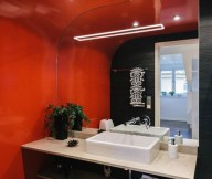 Asian Inspired Bathroom Stunning Modern Stockholm Apartment Red Wall