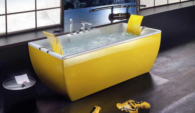 Beautiful Bathtubs Design Yellow Bathtub Wooden Floor