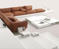 Biege Sofa Colorful Living Room Unique White Table