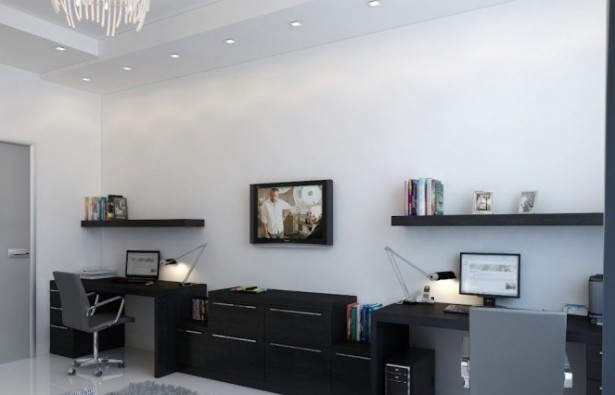 Black Desk Twin Office Creative Home Design White Wall