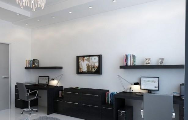 Black Desk Twin Office Creative Home Design White Wall