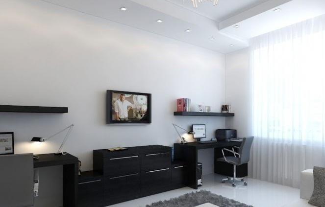 Black Desk White Home Office Creative Home Design