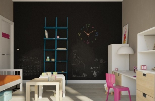 Black Wall Pink Kids Chair Apartment For A Young Family