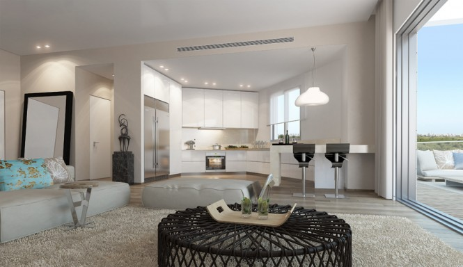 Black White Decor Open Plan Apartment Ando Studio Designs