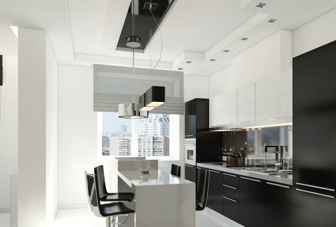 Black White Kitchen Creative Home Design Glossy White Floor