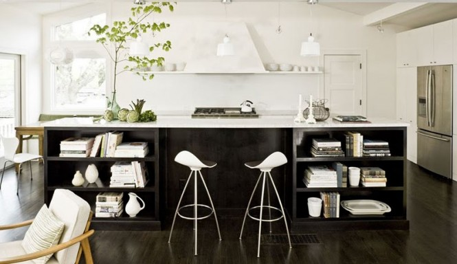 Black White Kitchen Open Kitchen Shelves White Wall