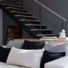 Black White Pillow White Sofa Modern Townhome Design
