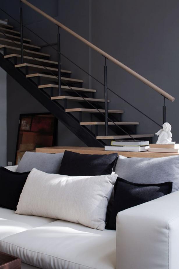Black White Pillow White Sofa Modern Townhome Design