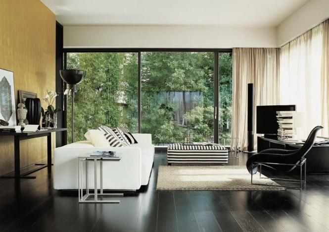 Black White Stripe Ottoman Modern Sofa Ideas Wooden Floor
