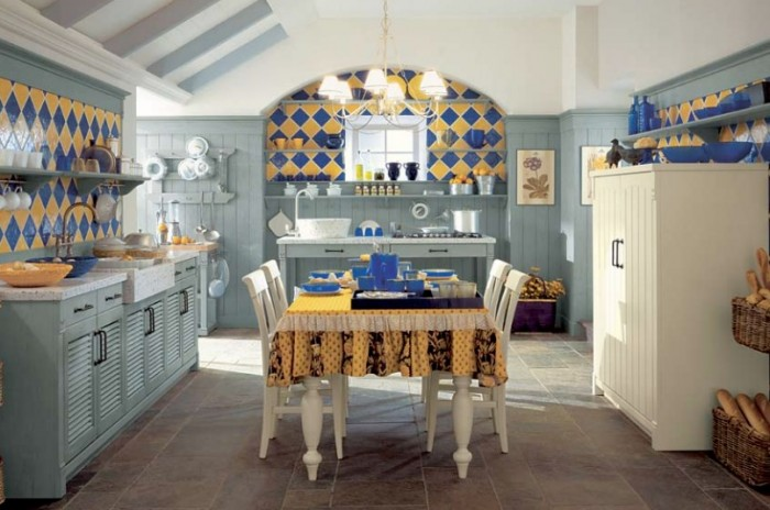 Blue And Yellow Tile Country Kitchen Country Kitchens With Italian Style