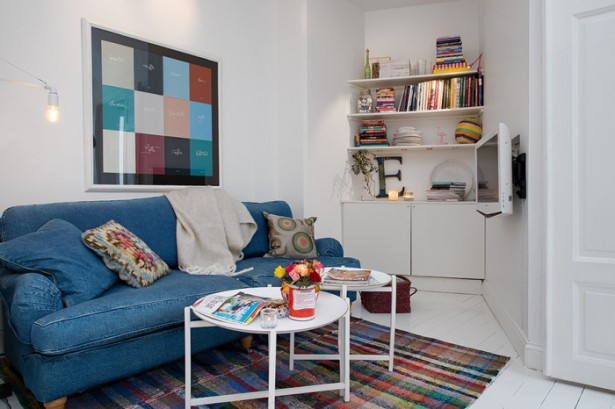 Blue Jean Sofa Colourfull Carpet  White Heirloom Apartment