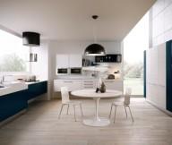 Blue Kitchen Units Modern Kitchens Ideas Wooden Floor