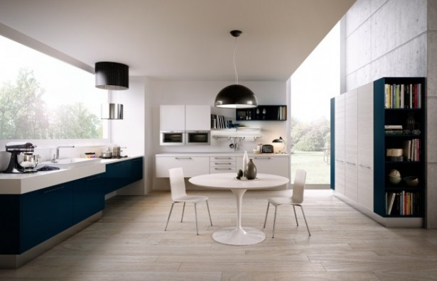 Blue Kitchen Units Modern Kitchens Ideas Wooden Floor