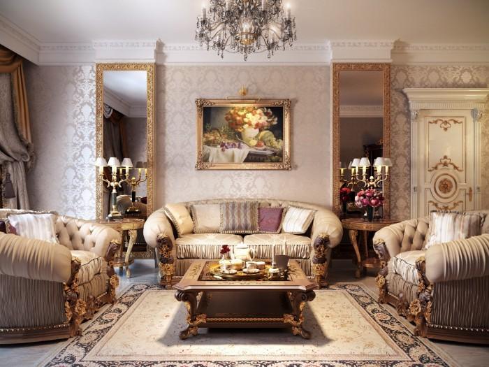 Brilliant Design Work Luxurious Formal Living Room Classic Mirror