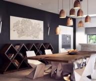 Brilliant Design Work Rustic Modern Dining Table Grey Wall