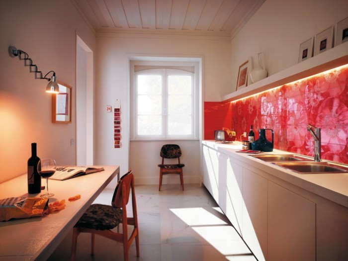 Brilliant Red Graphic Backsplash Red Kitchen Backsplash Ideas