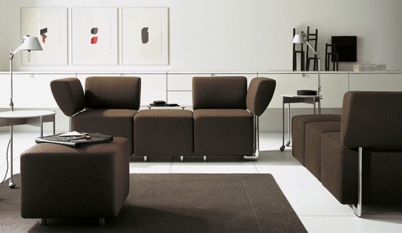Brown Sofa Colorful Living Room White Wall