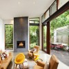 Brown Sofas Inside Outside Courtyard Extension Courtyards Design Ideas