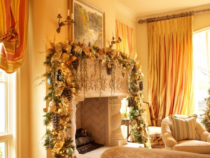 Christmas Mantel Decorations Mantel Decor Inspiration Yellow Curtain