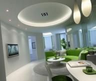 Circular Lounge Modern Lighting Lime Green White Modern Living Rooms