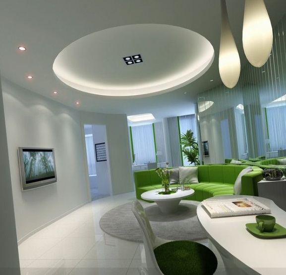Circular Lounge Modern Lighting Lime Green White Modern Living Rooms