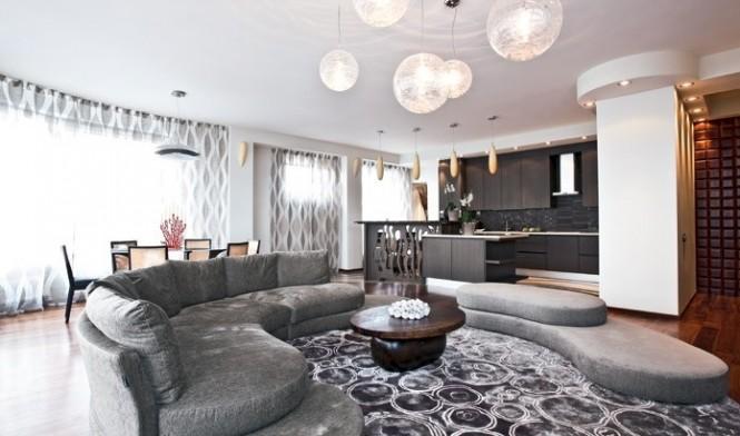 Circular Sofa Suite Artistic Interior Renders Grey Sofas