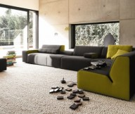 Colorful Living Room Black Green Sofa Creame Rug