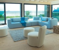 Colorful Living Room Blue Sofa Glass Wall