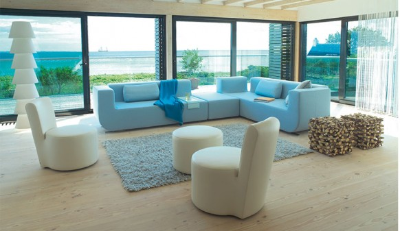 Colorful Living Room Blue Sofa Glass Wall