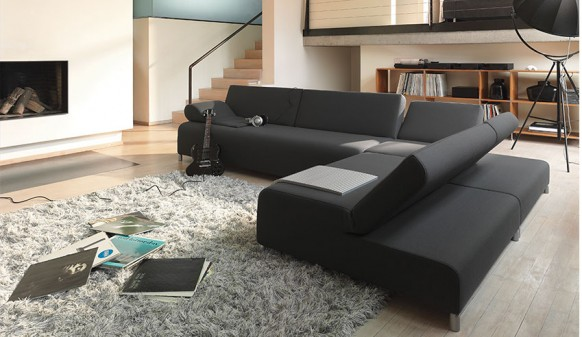 Colorful Living Room Dark Sofa Set Grey Rug
