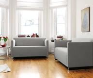 Colorful Living Room Grey Sofa Wooden Floor