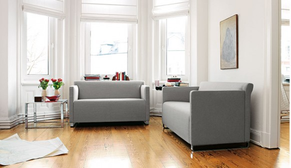 Colorful Living Room Grey Sofa Wooden Floor