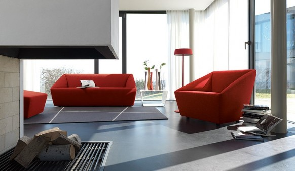 Colorful Living Room Red Sofa White Curtain