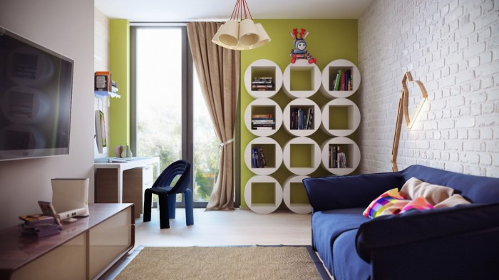 Colorful Modern Childrens Room  Brilliant Design Work Unique Lamp