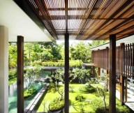 Contemporary Garden Serene Sun House Green Lawn