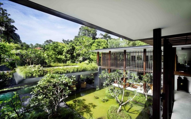 Contemporary Garden Spaces Small Pond Serene Sun House