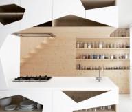 Contemporary Kitchen Design Wooden Rack Open Kitchen Shelves