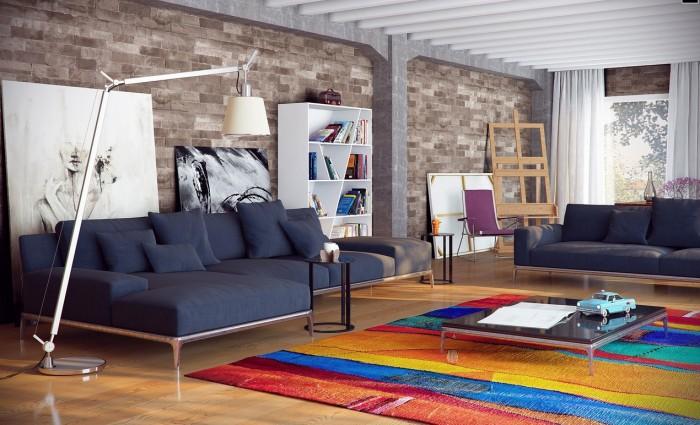 Contemporary Living Rooms City Loft Decor Ideas Colourfull Rug
