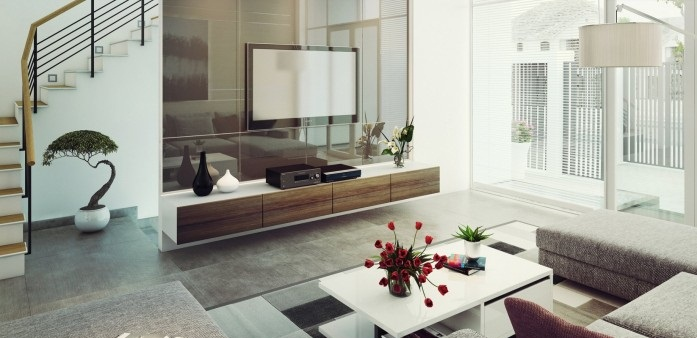 Contemporary Living Rooms Modern Media Center White Table