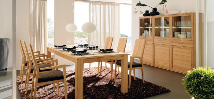 Contemporary Wood Dining Set White Curtain Modern Dining Rooms