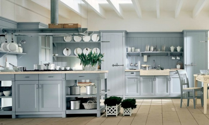 Country Kitchens With Italian Style Light Blue Country Kitchen