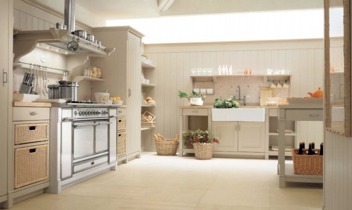 Country Kitchens With Italian Style Retro Gas Stove Design